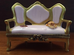 "Limoges Pink Victorian Sofa with Gold Trim, 24K, 2.5""H"