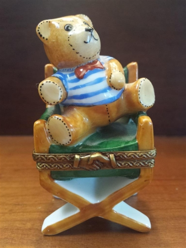 "Limoges Teddy Bear in Director's Chair Box, 2.5""H"