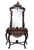 Rococo Console With Mirror, Hand Carved, Mahogany