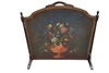 Lovely Antique Fire Screen by Ferguson Furniture, Floral, Leather & Wood Ca 1900