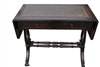 Antique Drop Leaf Mahogany, Leather Inlaid Library Table