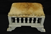 "Cool Goat Hair Foot Stool, Off White Painted Base, 24.5""W x 13.5""H"