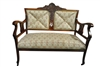 Antique Carved Wood Settee, Upholstered
