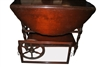 Antique Mahogany Drop Leaf Wagon Wheel Tea Cart, Circa 1910