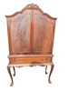 Vintage Queen Anne Style Blind Door China Cabinet Mahogany