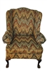 Chippendale Style Upholstered Wingback Chair