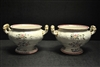 "2 Antique Spode New Fayence Soup Tureens, Bowls 3.75""H, Ca 1850"
