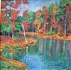 "Signed Acrylic Painting By Betty Laws Smith ""Toad Lake"" 17 x 17"
