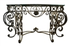 Elegant Wrought Iron Glass Top Console Table, Beveled,Antique Gold