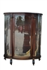 "Antique Bow Front Mahogany Curio Cabinet 61""H"