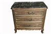 "French Marble Top Commode, Painted, Bachelors Chest, Nightstand, 34""H"
