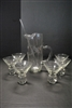 Vintage 8 Pc. Martini Set, Pitcher, Glasses, Stirrer, Etched Glass