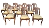 "Set of 10 Antique Side Dining Chairs, Mahogany, 32""H"