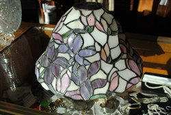 Dale Tiffany Stained Glass Lamp Shade, Signature Attached, Floral