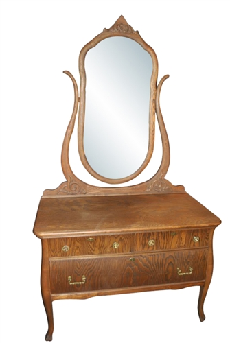 Antique Tiger Oak Dresser with Mirror Circa 1900