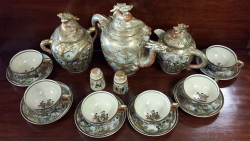 Japanese Satsuma 20-Pc. Earthenware Tea Set
