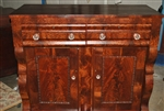American Empire Flaming Mahogany Server Sideboard Chest  Circa 1840