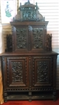 Large French Carved Oak Cabinet with Ornate Bronze Panels Circa 1890