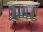 Hand Carved Solid Mahogany Chocolate Table, Curio, Liquor Cabinet