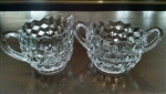 "Fostoria American Clear Pattern Mini Creamer & Open Sugar 2 5/8""H"