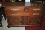 Gorgeous Antique French Tiger Oak Cabinet, Server, Buffet, Circa 1880