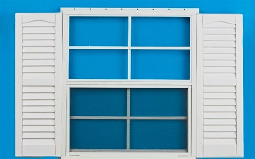 18x27 window with 9 x 28 white shutters for 18x27 window