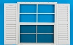"24x27 Window with 9"" x 27"" White Shutters"