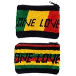 ONE LOVE, RASTA COLOR, CROCHETED CHANGE PURSE