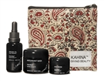 Kahina Giving Beauty Spa Set: Argan Oil, Eye Cream, Antioxidant Mask in Paisley Pouch