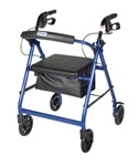 "Aluminum Rollator w/Fold Up and Removable Back Support, Padded Seat, 8"" Casters"