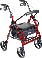 "Go-Lite Bariatric Steel Rollator, Padded Seat, 8"" Casters with Loop Locks"