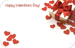 """Happy Valentine's Day"" : Red cut-out hearts w/gold gift pkg (Pack of 50 enclosure cards)"