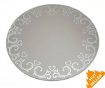 "Round Centerpiece Mirror w/ Etched Pattern (12"")"