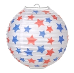White Paper Lantern w/ Red & Blue Stars