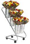Fresh Flower Display with 6 Galvanized Buckets