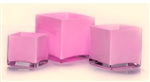 Cube Glass Vase 4x4x4, Pink - CASE OF 12