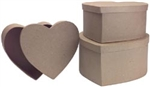 Paper Mache Heart Box Set of 3