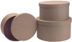 Paper Mache Round Box-Large Set Of 3