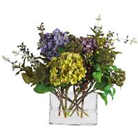Mixed Hydrangea w/Rectangle Vase