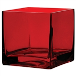 Cube Glass Vase 6x6x6 - Ruby