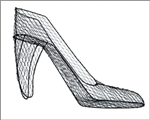 "High Heel, Wire Form, 15"" x 10""h, black"