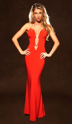 Courtney - Red Flare dress by Kamala Collection