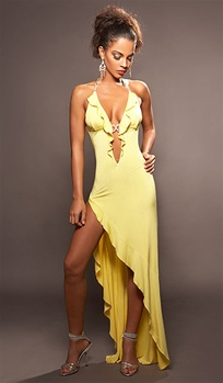 Tango - High slit ruffle dress by Kamala Collection Sexy Evening Gowns
