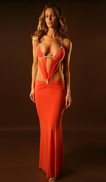 Genie sexy rhinestone dress with rhinestone trim and molded cups