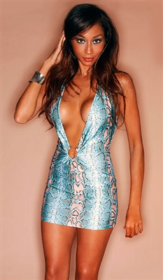 Shanti - snake print mini dress