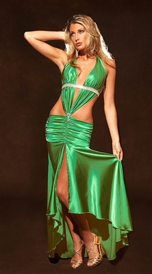 Sheena - Silk & rhinestone halter dress by Kamala Collection Sexy Evening Gowns