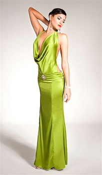 Dominique - Silk cowl dress by Kamala Collection Sexy Evening Gowns