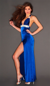 Hollywood - Silk & rhinestone halter dress by Kamala Collection Sexy Evening Gowns