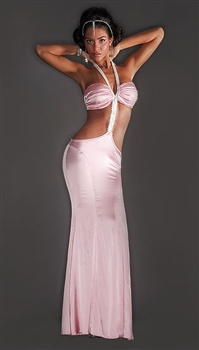 Davina - Silk & rhinestone halter dress by Kamala Collection Sexy Evening Gowns