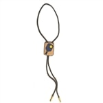 Handcrafted Bolo Tie features leather pickleball paddle, choose from red or blue